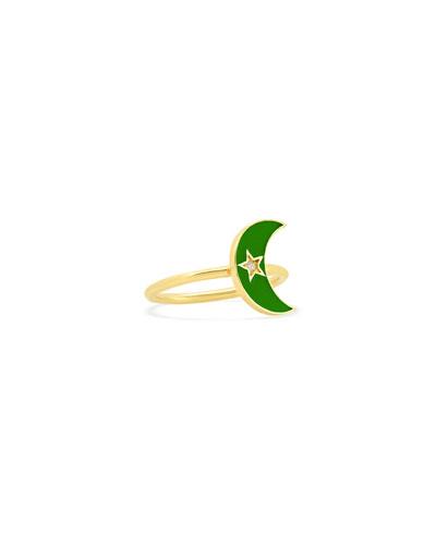 18k Kelly Green Enamel Crescent Ring, Size 5-7