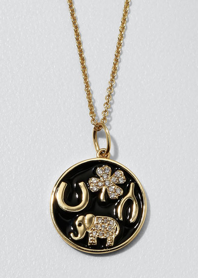 14k Luck Tableau Diamond Medallion Necklace  Black