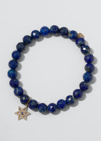 14k Diamond Star of David Lapis Bracelet