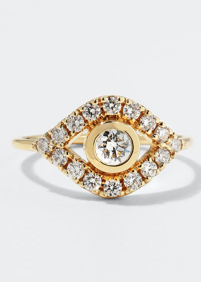 14k Gold Extra-Large Evil Eye Ring w/ Diamonds  Size 6.5