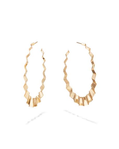 14k Large Flat Wavy Hoop Earrings, 60mm