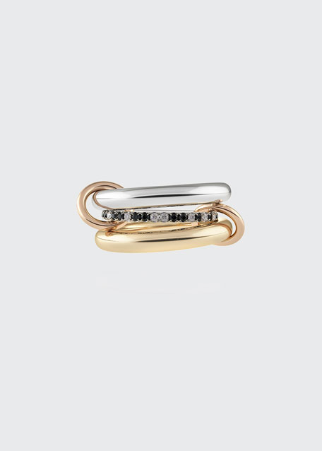 Sonny 18k Gold & Silver 3-Link Ring w/ Micropave Diamonds