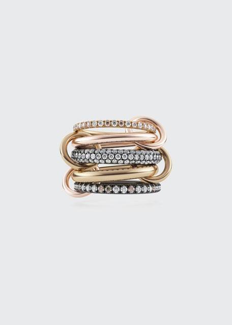 Leo 18k 2-Tone 5-Link Ring w/ Diamonds