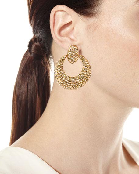 Crystal Pave Door-Knocker Clip Earrings