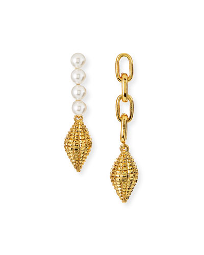 Pearly and Chain Mismatch Earrings