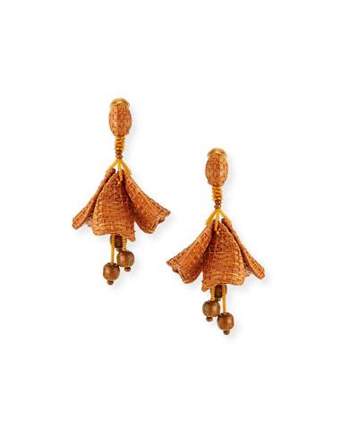 Raffia Impatiens Clip Earrings