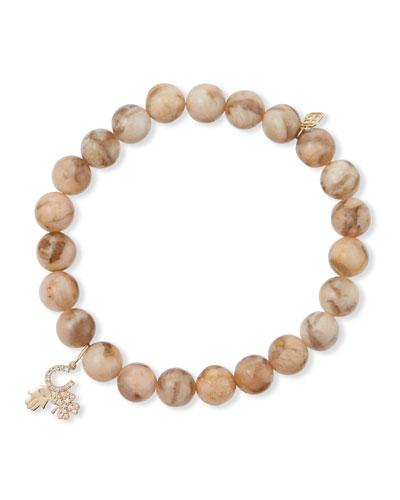 14k Luck and Protection Diamond Pink Feldspar Bracelet