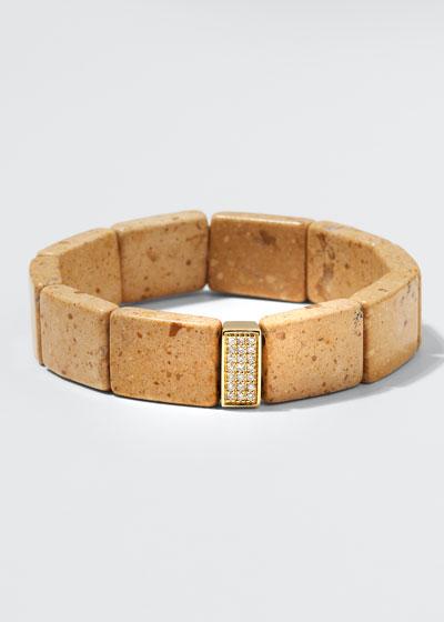 14k Diamond 3-Row Spacer Riverstone Bracelet