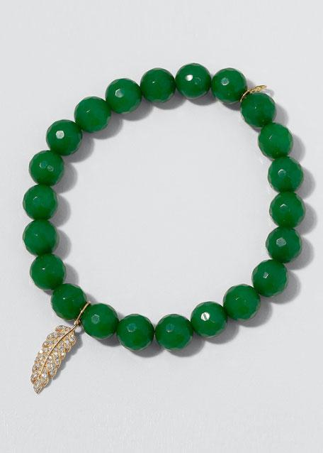 14k Diamond Feather Verdite Bracelet