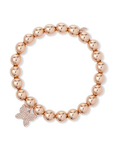 14k Rose Gold Diamond Butterfly Bead Bracelet
