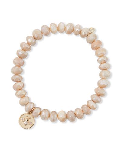 14k Diamond Bee Coin Sand Moonstone Bracelet