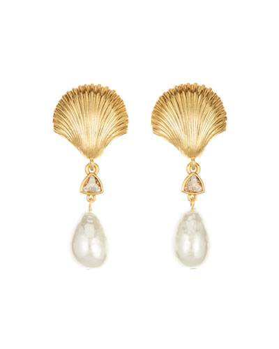 Scallop Shell Pearly Clip Earrings