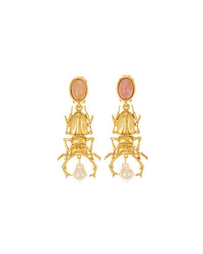 Beetle Clip-On Drop Earrings