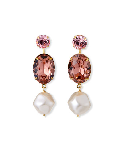 Meredith Pearly and Crystal Drop Earrings  Rose