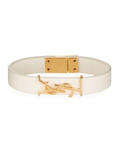 Simple Tour Leather YSL Monogram Bracelet  Size Medium
