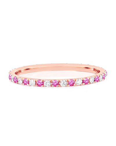 14k Rose Gold Diamond and Pink Sapphire Eternity Ring  Size 5-7