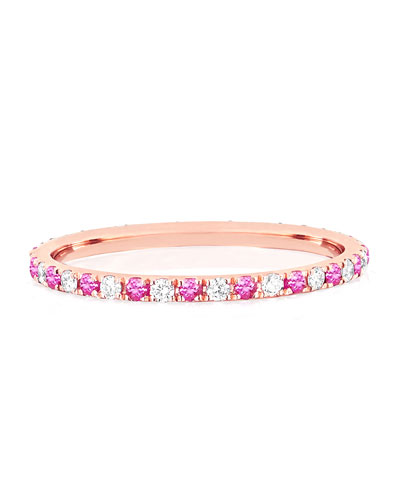 14k Rose Gold Diamond and Pink Sapphire Eternity Ring  Size 5 and 7