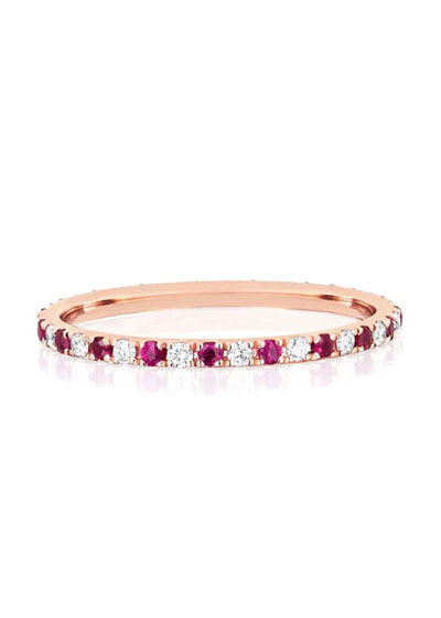 14k Rose Gold Diamond and Ruby Eternity Ring, Size 5 and 7