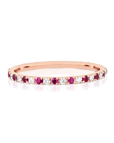 14k Rose Gold Diamond and Ruby Eternity Ring  Size 5 and 7