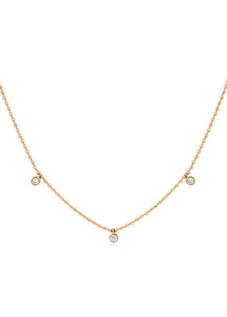 Image 1 of 1: 14k Gold 3-Diamond Bezel Necklace