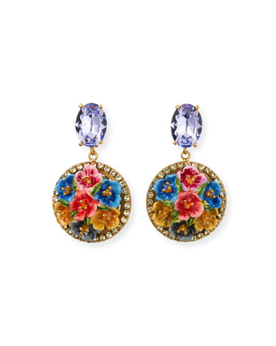Floral Disc-Drop Earrings