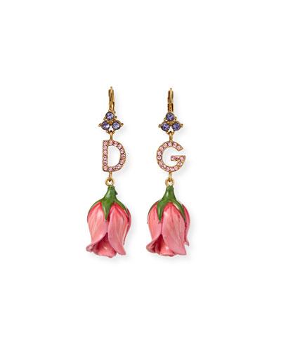 DG Crystal Tulip-Drop Earrings, Pink