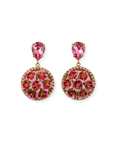 Floral Disc-Drop Earrings, Pink