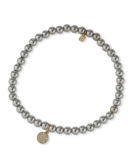 14k White Gold Bead Bracelet with Diamond Disc