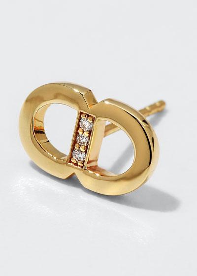 14k Diamond Pave Link Stud Earrings