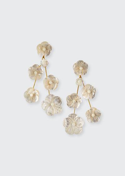 Linear Mother-of-Pearl Flower Earrings