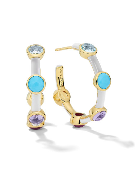 Lollipop Carnevale 5-Stone Hoop Earrings in 18K Gold with Multi Stones and White Ceramic