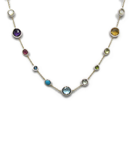 Lollipop Carnevale Necklace in 18K Gold with Multi Stones and White Ceramic
