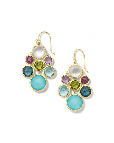 18K Lollipop Multi Stone Cascade Earrings in Rainbow