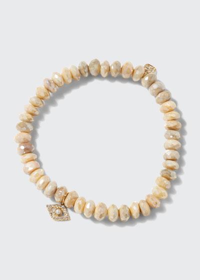 14k Pearl Evil Eye Moonstone Bracelet