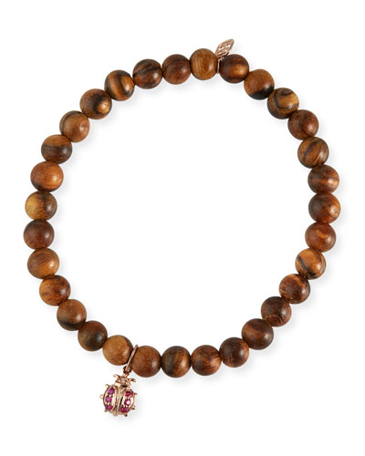 14k Rose Gold Wood Ruby Ladybug Bracelet