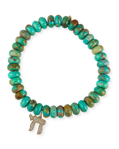 14k Diamond Chai Turquoise Bracelet