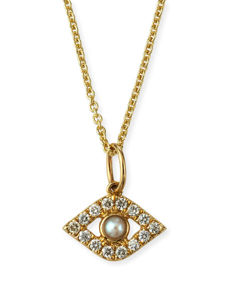 14k Diamond Evil Eye and Pearl Necklace
