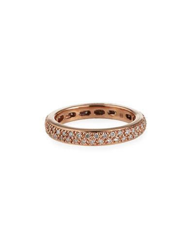 14k Rose Gold Diamond Eternity Band Ring, Size 6.5