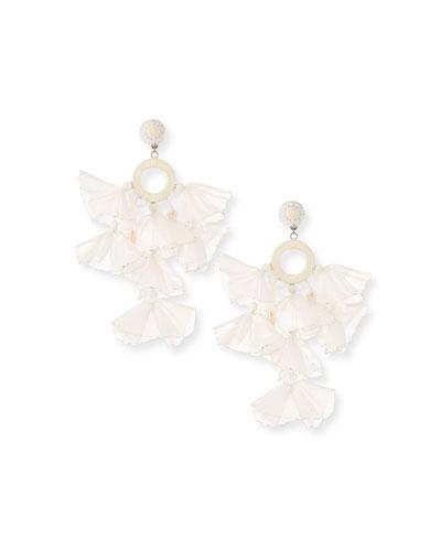 Skylar Stick Pearl And Tassel Clip Earrings