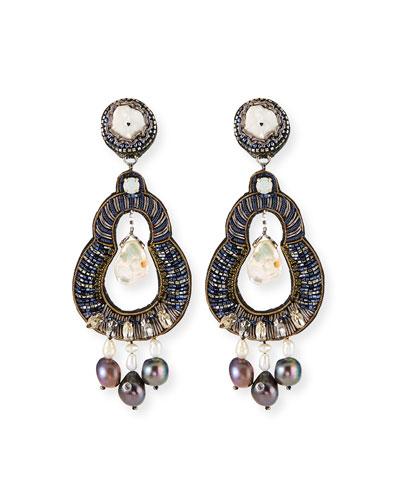 Nevara Mixed-Pearl Clip Earrings