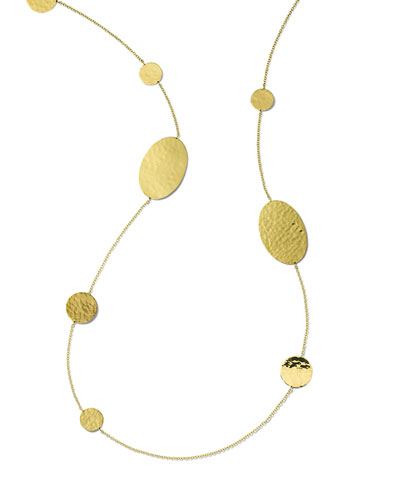 Classico Crinkle Oval and Circles Necklace in 18K Gold