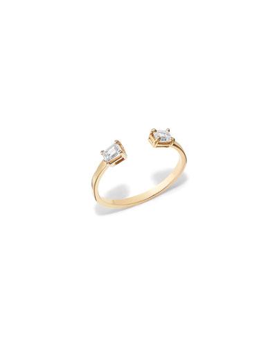 Solo Emerald Diamond Echo Ring