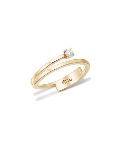 14k Solo Diamond Double-Band Ring, Size 7