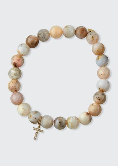 14k Pink Opal Diamond Cross Bracelet