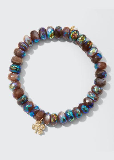 16k Diamond Clover Chocolate Moonstone Bracelet
