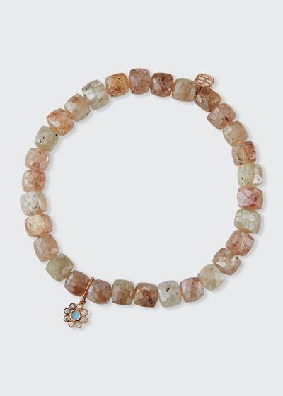 14k Rose Gold Enamel Diamond-Bezel Flower Bracelet with Strawberry Quartz