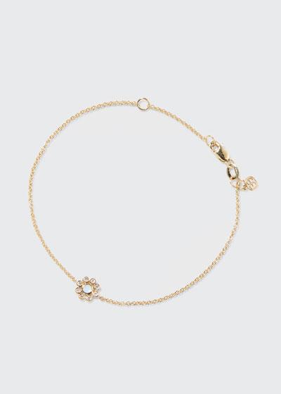 14k Two-Tone Gold Blue Enamel Diamond Bezel Flower Bracelet