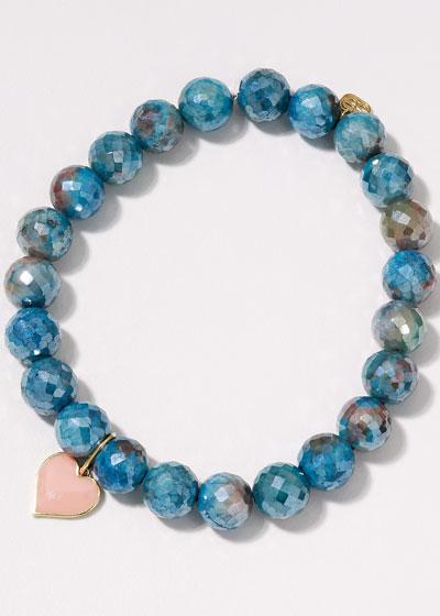 14k Blush Enamel Heart Silicate Bracelet