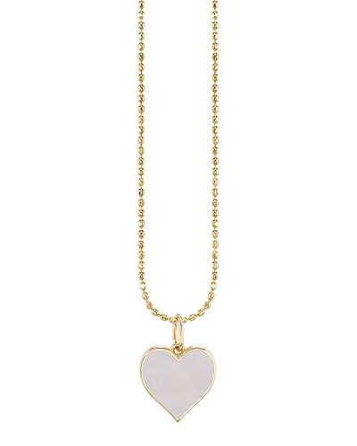 14k Enamel Heart Charm Necklace  Blush
