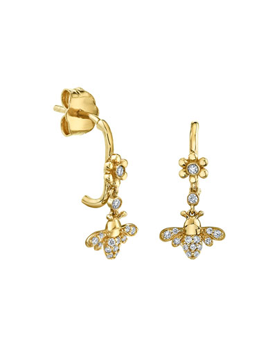 14k Diamond Daisy and Bee Wire Drop Earrings